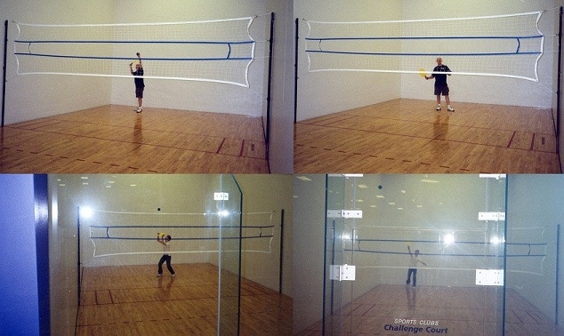 ENCLOSED COURT PLAY INSIDE RACQUETBALL COURTS 2-4 PLAYERS