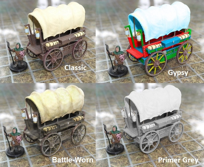 Concept art of paint variations; Gypsy, Battle Worn, and Primer Grey