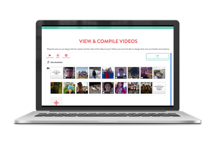 Submitted videos flow automatically into a simple editor where you can set the order of your videos and add cool features in minutes.