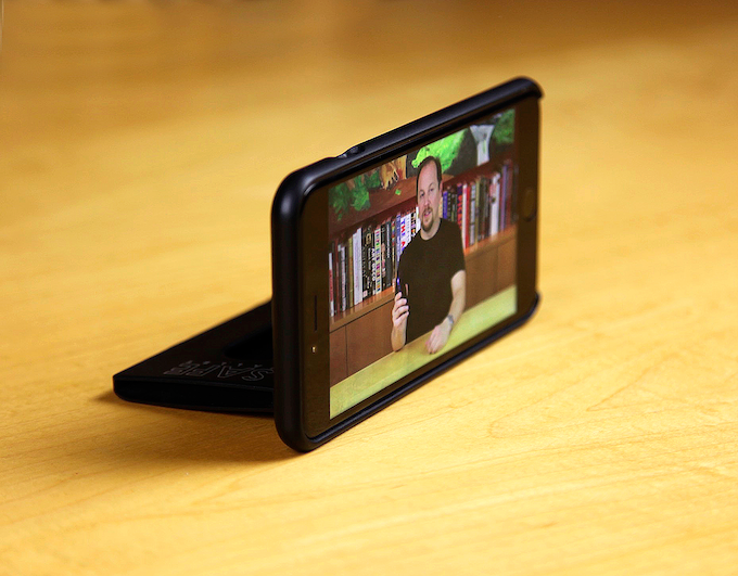 BulletTrain SAFE Wallet for iPhone 6 Plus MagicStand Being Used As A Tripod for shooting Video