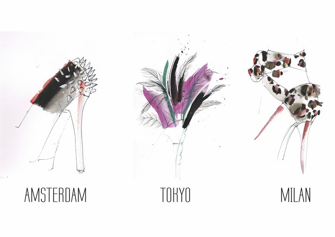 Illustrations of the collection by Sella Molenaar (H&M, Supertrash)