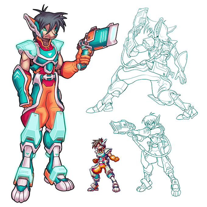 Jonas – A headstrong soldier fighting to save his city. Made stronger by the enigmatic RetroBlazer armor.