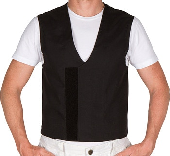Velcro closure at the front of the vest, which allows tightening the waist as you lose weight