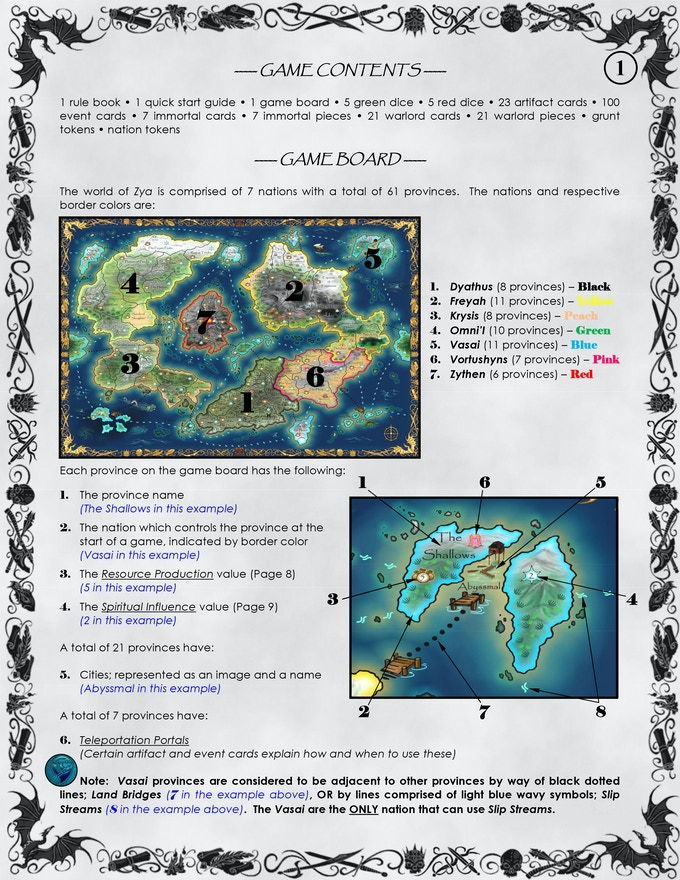 Page 1 of the Rule Book - Game Contents and Game Board