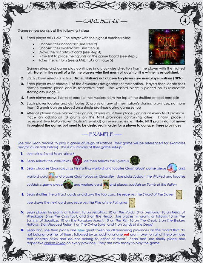 Page 4 of the Rule Book - Game Set-Up