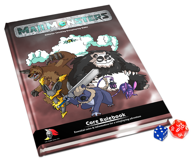 Please note that our initial goal will fund a softcover rulebook, and our first stretch goal will allow us to publish in hardcover. The MajiMonsters Core Rulebook art is subject to change.