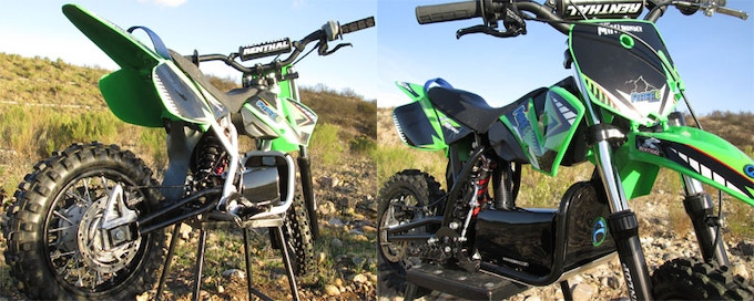 """RS"" (left) and ""RX"" (right). Not everyone needs a bike capable of clearing every jump at a track so we offer the RS, tamer with a lower price point, but shares the RX's wiring system so it easily upgrades to the RX."