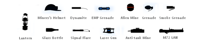 Just a few of the helpful items and weapons along the way