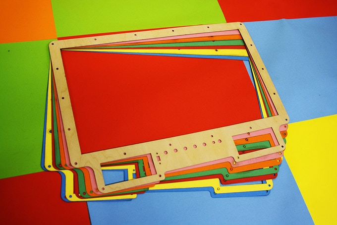A selection of coloured fascias including birch plywood.