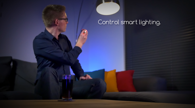 SPIN remote can also talk with your smart devices. For example set it up to control your lights when held upside down.