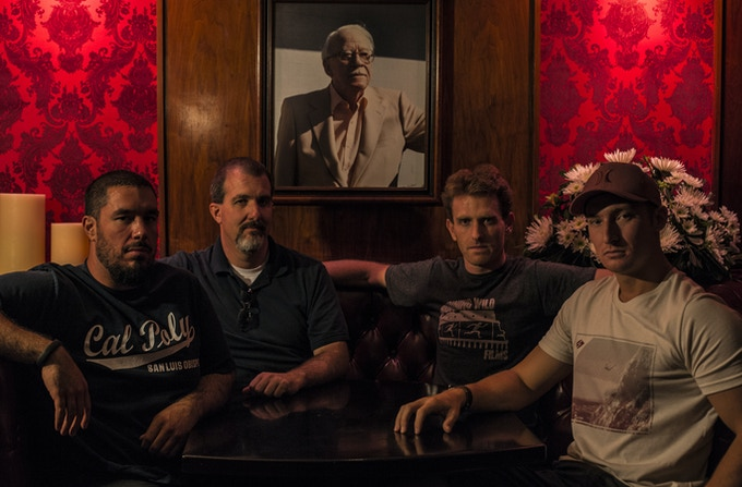 Left to right: James Alire (Sound), William Long (Producer), Travis Mills (Director), Nick Fornwalt (Director of Photography) and center a portrait of Jack Durant