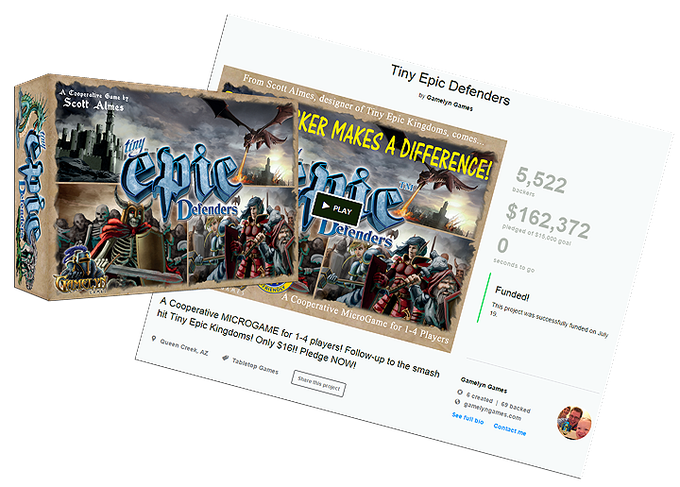 Click to visit the Tiny Epic Defenders' Kickstarter page