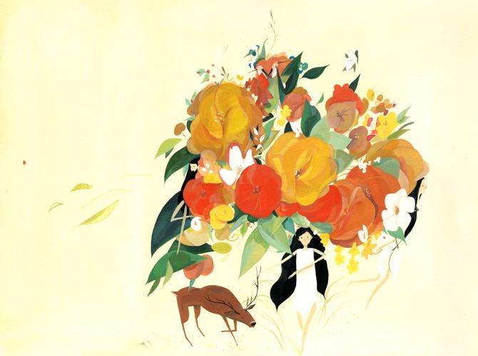 "Reward #23: Original calendar cover art, ""Fill this Night,"" 13"" x 9"" gouache on watercolor paper"