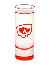 Notes: Only the bottom of the glass is colored (it reflects up in this image). The actual product will be slightly darker red. The logo will match the color at the bottom of the glass.
