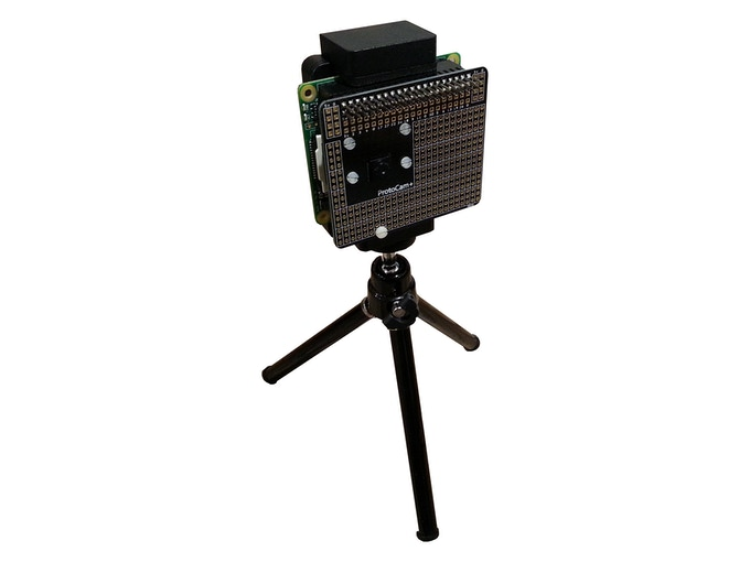 The ProtoCam+ mounted on a mobile phone tripod