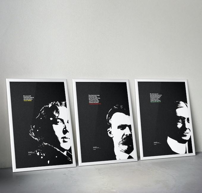 A2 silkscreen posters of Oscar Wilde, Friedrich Nietzsche, and Bernard M. Baruch.