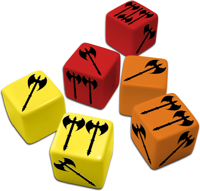 Three kinds of engraved dice