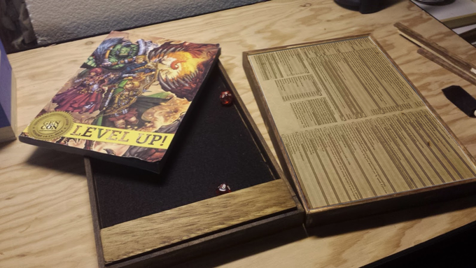 Working on the KBOX Mobile GM Table with engraved RPG stats!