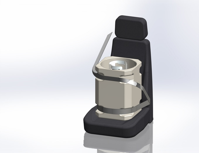 3D Rendition of how the Propane Porter will look - post production.  Note the integrated corners to assist in the ease of restraining the Propane Porter in your seat.