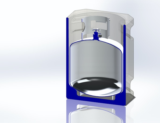 Cutaway view of the Propane Porter.  Notice the base - how it cradles the base, securing it, helping stablize the tank from movement.