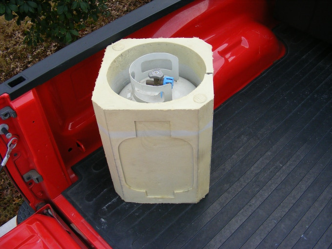 Functioning prototype #2 of Propane Porter in the back of pick up truck.