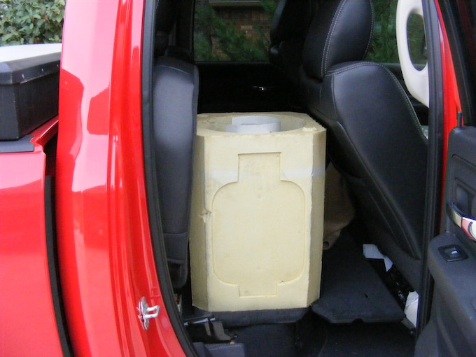 Functioning prototype #2, inside vehicle.  Notice how stable and conveniently well situated as well as non-damaging the Propane Porter is to the vehicle's interior surfaces.