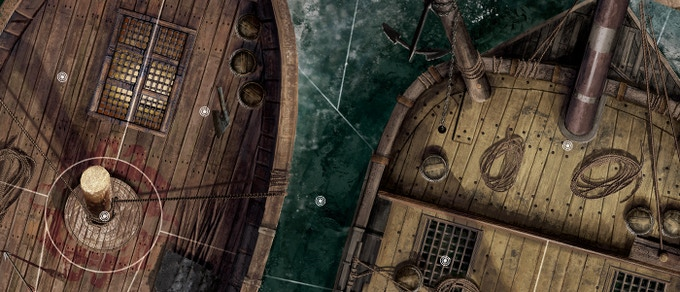 The pirate ship scenarios are inspired by Conan's days as a pirate, when he sailed with Bêlit, Queen of the Black Coast. Savage boardings, ruthless ship to ship combats and plunder are the order of the day!