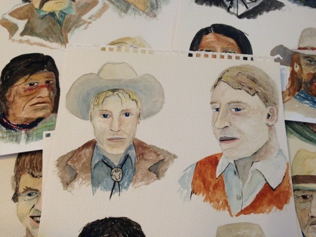 Some Gunslinger originals from 2003.  With the Mercenary Legend Reward, not only do you become part of every copy of Gunslinger: Legends of the Dusty Trail ever sold, you will the get to keep the original painting of your water color mugshot.