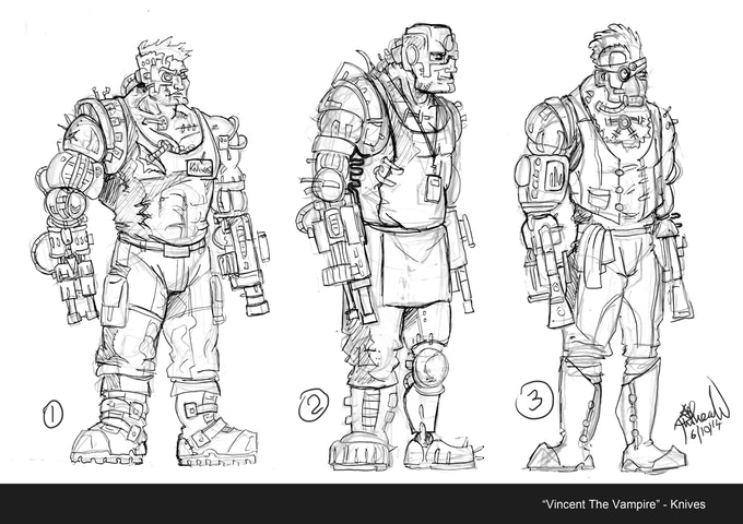 Concept art for Knives the Cyborg