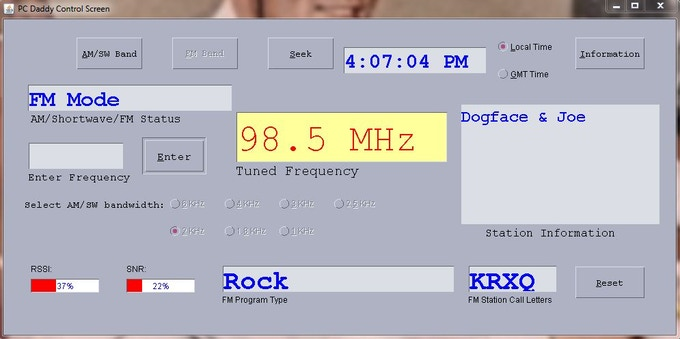 Example of radio tuned to FM station
