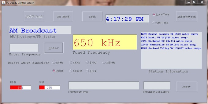 Example of radio tuned to AM station.