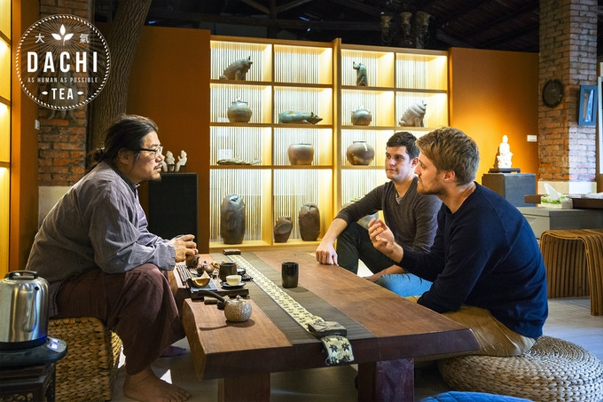 Sharing a cup of tea with Lin Yi-jie in his workshop / gallery space while discussing his unique design philosophy