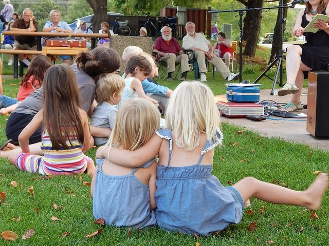 Patrons of all ages enjoying a storytime break during Claytown's performance