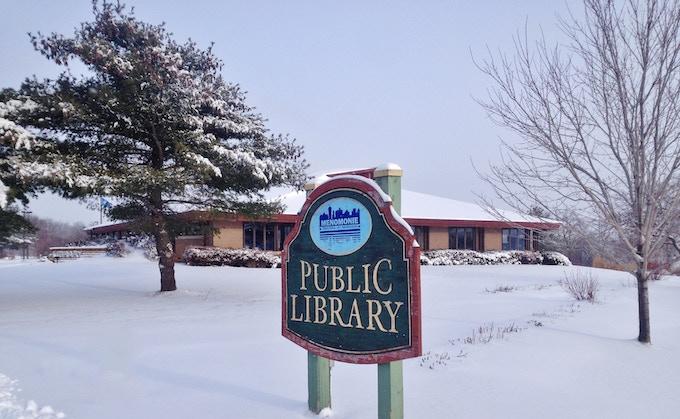 Menomonie Public Library (in the winter)