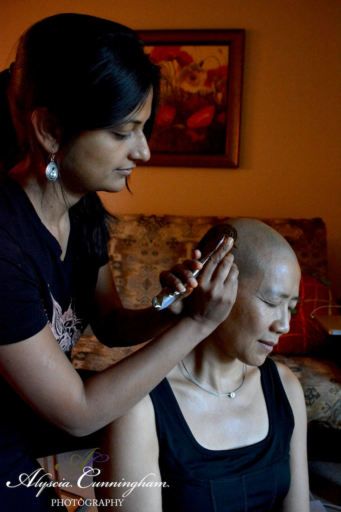 Henna Heals connected me to henna artist Deepti Khona, founder of Henna Harmony DC Metro. Serene is getting a henna crown.