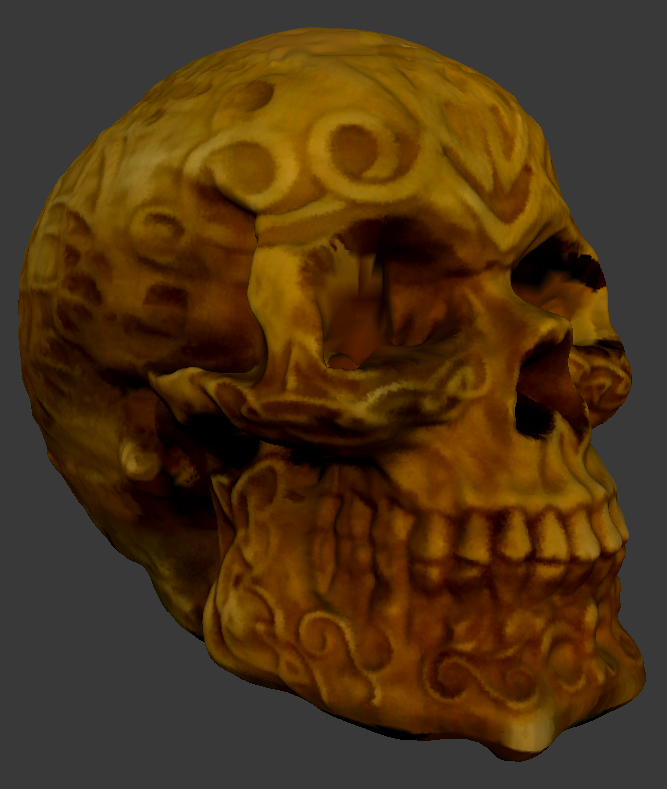 Close-up of Full Color Skull Scan