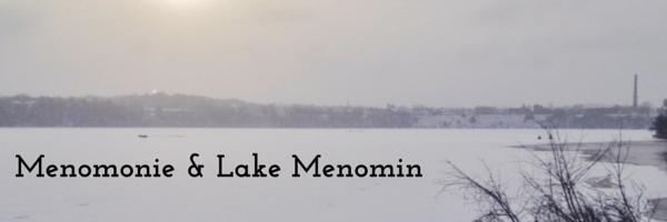 A frozen Lake Menomin with Menomonie in the background