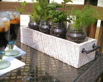 Window box holds four Mason Jar Garden planters