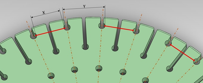 Root Cause: distance X is not equivalent to Y resulting in slight time shift for bead drops.