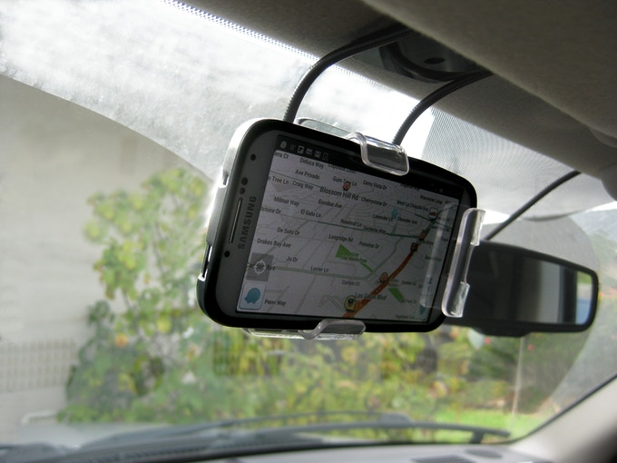 Visor mounted smartphone and case with shape-changing xFormer in landscape mode.
