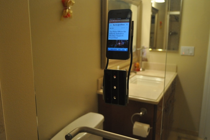 Watch the news and weather in the shower while keeping your smartphone safe.