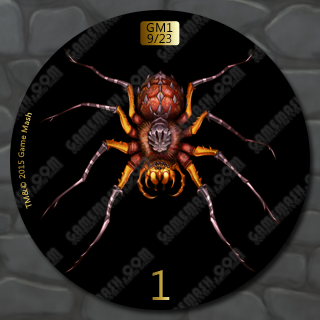"""1"""" Wicked Spider -- Gold on Black Background"""