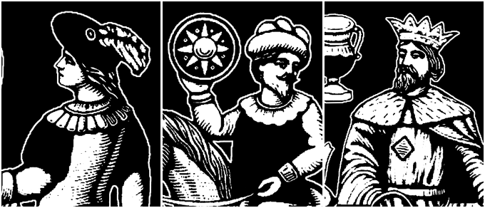 Details of the Knave of clubs, Knight of coins, and King of cups