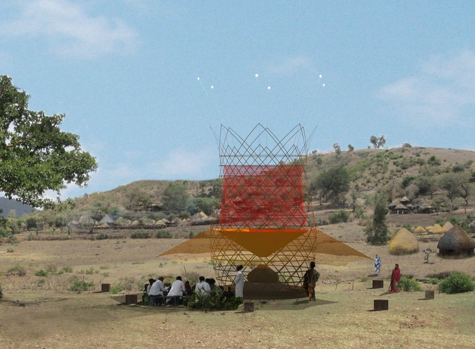 Warka Water 3.1 - Rural community context - Artistic Illustration