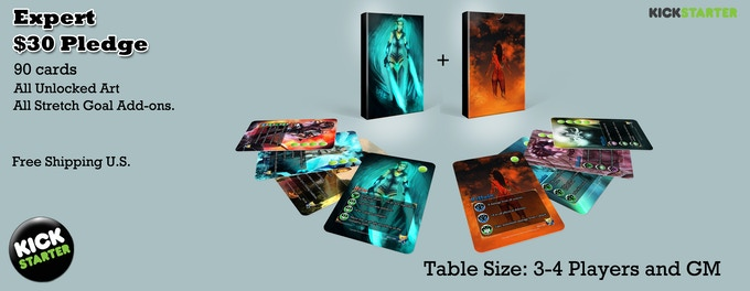 Expert set - All 90 Basic set cards + All Unlocked Stretch Goal Art + All Unlocked FREE Stretch Goals + Free Shipping in the US. Good for 4 players and a GM.