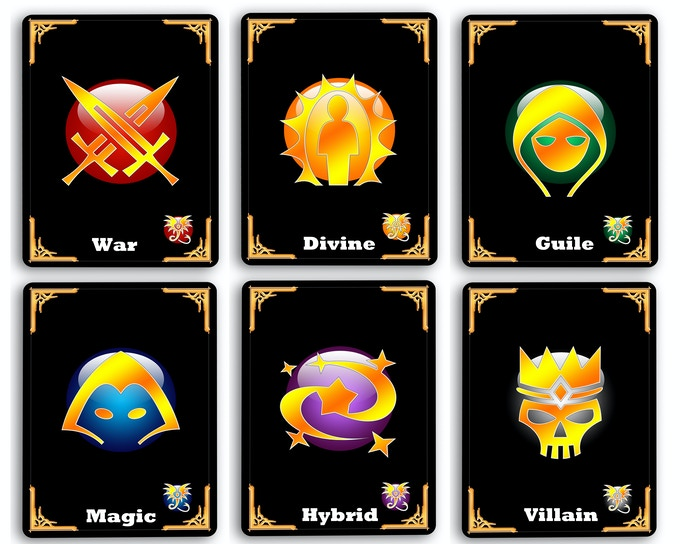Each Epic Hero Deck has 7 or more different cards each representing an aspect of character play. For instance, War has Two-Handed, Dual-weild, Agile Fighter, Sword and Shield, Rage Fighter, Ranged, and Warrior