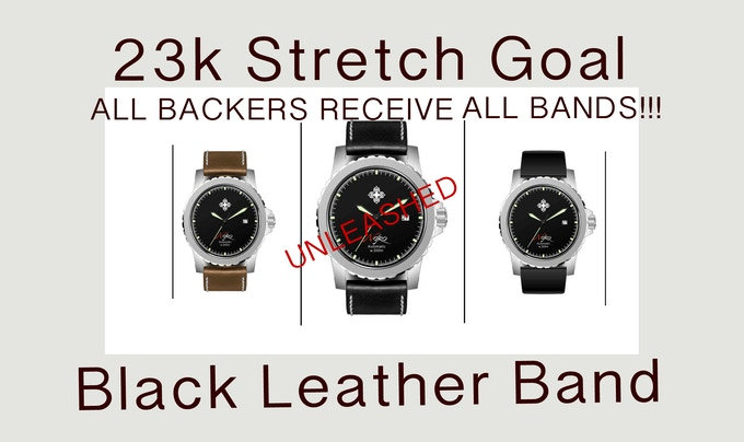 STRETCH GOAL PUSH!!! If we reach the 23k mark we will release the black leather band. EVERY SUPPORTER WILL RECEIVE ALL THREE BANDS!! BROWN LEATHER, BLACK LEATHER, AND BLACK SILICONE FOR ALL!!! Help us reach this goal by sharing or pledging!