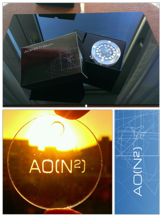 Top: Tritium packaging, Bottom left: Laser-engraved keyring (clear)