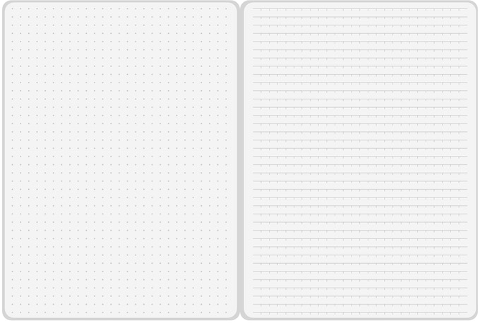 Our unique page layout. Dot Grid (left), Indentation Rule (right).
