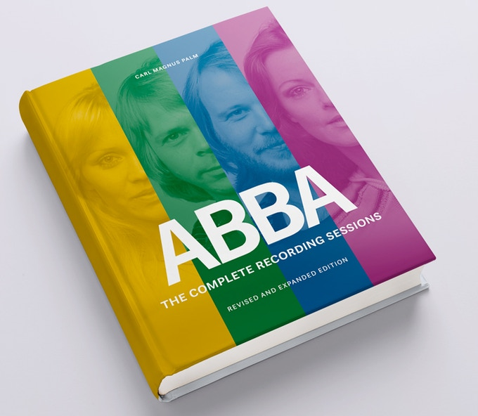 A potential cover design for the revised and expanded edition of ABBA–The Complete Recording Sessions. Cover and inside page designs will evolve and are subject to change.